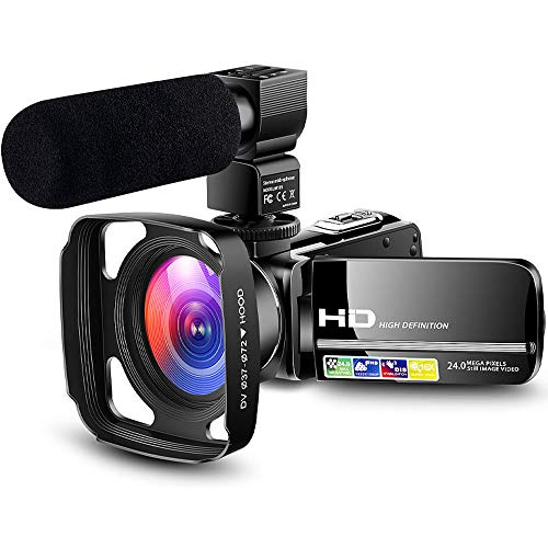 Camcorder Video Camera Ultra HD 1080P Vlogging YouTube Digital Recorder Camera with Powerful Microphone, Lens Hood, Separate Battery Charger, 2 Batteries
