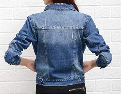 Moda Manica Giacche Giaccone Single Giovane Elegante Jeans Autunno Di Donna Lunga Corto Cappotto Bavero Casual Anteriori Tasche Giacca Women Medium Blue2 Breasted UOtFPwP
