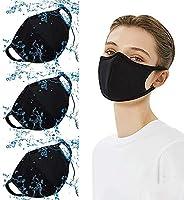3 pcs Reusable and Washable Cotton Face Másk Bandanas for Adults (Black)