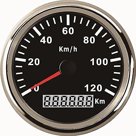 Impermeable KM GPS velocímetro odómetro 120 km/h para coche motocicleta Tractor Camión con retroiluminación 85 mm 12 V/24 V: Amazon.es: Coche y moto