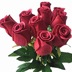 jiumengya 10pcs Real Touch Rose Simulated Fake Latex White/red/Pink/Yellow/champgne Roses 43cm for Wedding Party Artificial Decorative Flowers (Dark red) 27