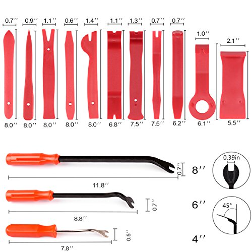 XOOL Trim Removal Tools, Auto Door Panel Remover Pry Tools Set Nylon Panel Removal Tool Fastener Remover Set for Car Interior Removal Dash Panel Radio Trim Panel, 14 PCS Red by XOOL (Image #6)