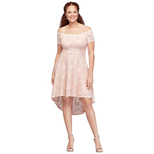 1f62db490de Off-The-Shoulder Lace High-Low Plus Size Dress Style 3602HN6W at ...