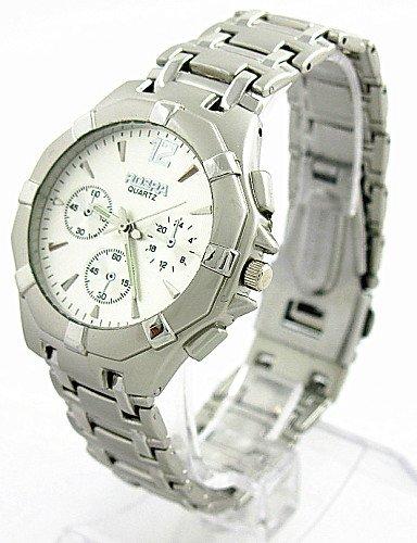 Marcas ROSRA Reloj Plata Tono Acero Señor Reloj de pulsera manera analógica beiläufige - joven de deportes de cuarzo relojes, Silver: Amazon.es: Relojes