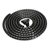 25mm 5M Spiral Wrap Cable Tidy Kit Wire Organizing Wrap with Clip Tool Spiral Office Home Best Promotion