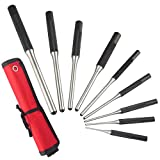 Twod Roll Pin Punch Set with Storage Pouch, 9 Piece Steel Removal Tool Kit for Jewelry, Watches,Rifle Pins