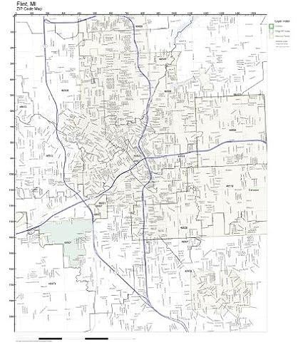 Amazon Com Zip Code Wall Map Of Flint Mi Zip Code Map Not