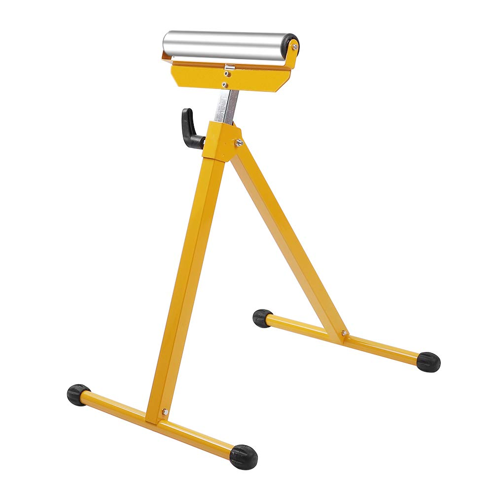 Fit for Table Miter Saws for Log Timber Firewood Material Support Pedestal Height Adjustable Portable 132lbs Weight Capacity with Steel Ball Bearing Roller TUFFIOM Folding Roller Stand