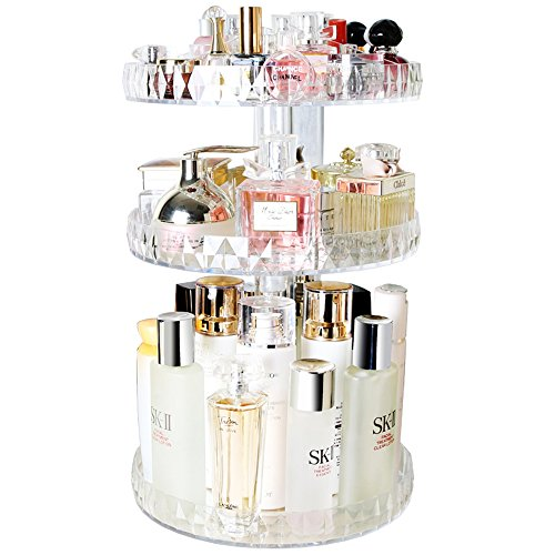 Botide Diamond cosmetic storage box transparent Acrylic swivel shelf desktop Skin care product dresser finishing Review