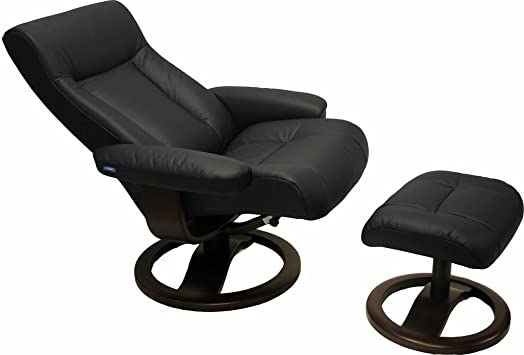 ScanSit 110 Black Leather Recliner Norwegian Ergonomic Scandinavian Lounge Reclining Chair 110 ScanSit Large Recliner Furniture Walnut Wood by Hjellegjerde