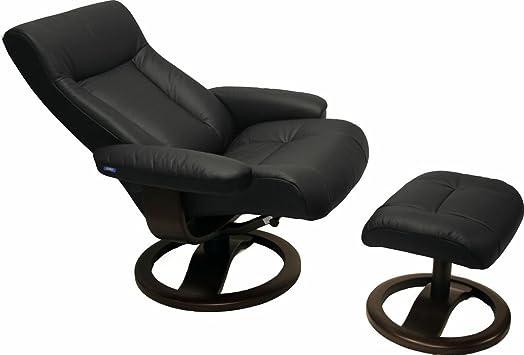 ScanSit 110 Black Leather Recliner Norwegian Ergonomic Scandinavian Lounge Reclining Chair 110 ScanSit Large Recliner Furniture Walnut Wood by Hjellegjerde