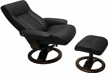 ScanSit 110 Black Leather Recliner Norwegian Ergonomic Scandinavian Lounge Reclining  Chair 110 ScanSit Large Recliner Furniture