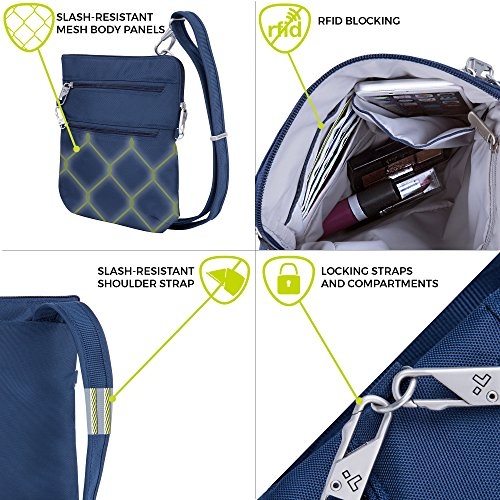 Travelon Anti-Theft Classic Slim Dbl Zip Crossbody Bag, Midnight by Travelon (Image #2)