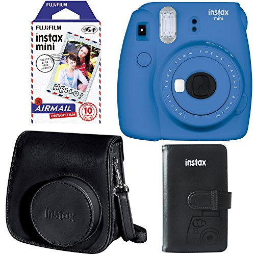 Fujifilm Instax Mini 9 Instant Camera - Cobalt Blue, Fujifilm Instax Mini Airmail Film, Fujifilm Instax Groovy Camera Case - Black and Fujifilm INSTAX WALLET ALBUM 108 BLACK (Camera Blue Polaroid Instax)