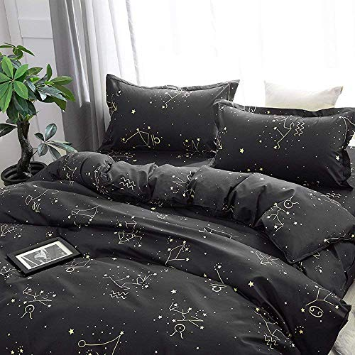 - Grace Store Zodiac Duvet Cover Queen Comforter Cover with Zipper, 3 Pieces Bedding Duvet Cover Sets Black, 90