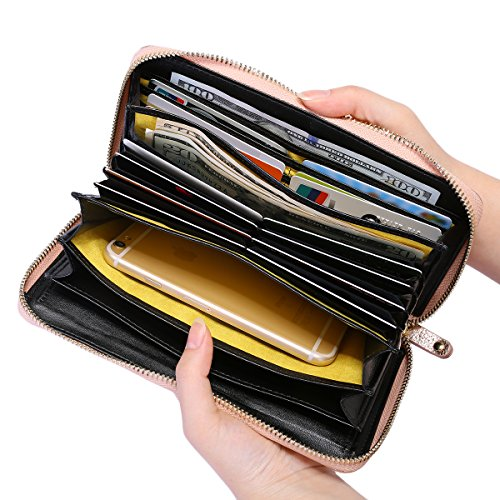 Itslife Women's RFID Blocking Leather Zip Around Wallet Clutch Large Travel Purse