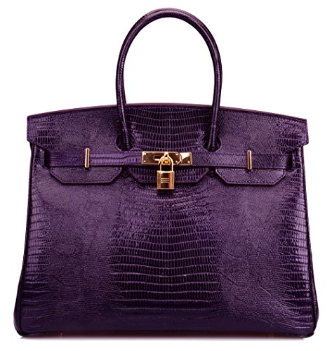 Ainifeel Women's Color Focus Unreal Colour Lizard Embossed Patent Leather Padlock Top Handle Handbag Women's Briefcase (35cm, Dark purple) by Ainifeel
