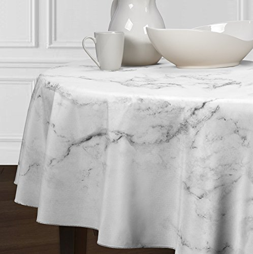 - A LuxeHome Black Grey and White Modern Contemporary Marble Tablecloths Dining Room Kitchen Round 72
