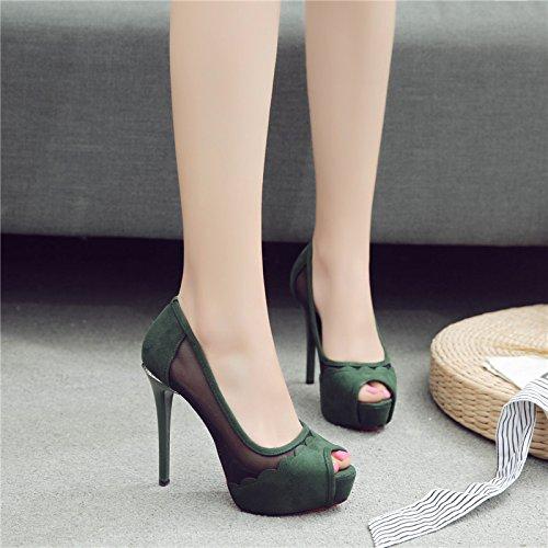 ジェスチャー郵便番号項目春と夏の女性の防水プラットフォーム魚口メッシュ通気性のファッションハイヒールの靴 DYY