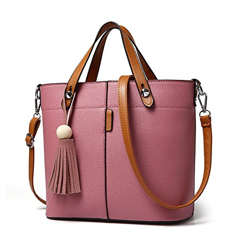 VINICIO Women's Simple Fashionable Large Capacity Tassel Bag Handbag(RubberRed) - Whiting & Davis Patent Leather Clutch