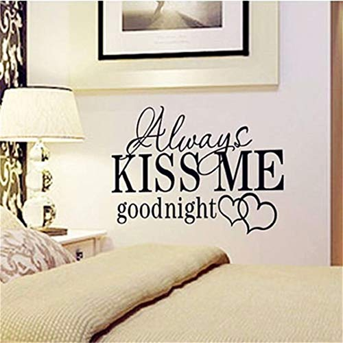 - LOVEACH Always kiss me Goodnight Vinyl Wall Decals Quotes Sayings Words Art Decor Lettering Vinyl Wall Art Inspirational Uplifting