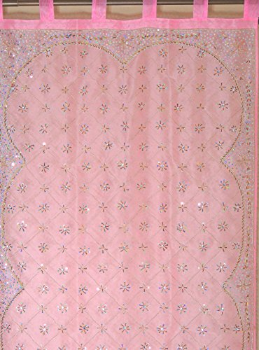 NovaHaat Sheer Organza Tissue Fabric Indian Window Treatments in Shimmering Pink with Zardozi 100% Hand Embroidery, bead and sequin work - Each Panel is 92in L x 42in W