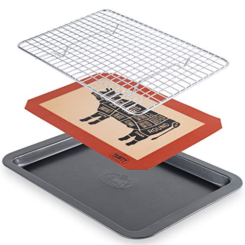 Trinity Provisions Meat Resting Pan - With Wire Rack and Silicone Baking Mat - Dishwasher and Oven Safe Stainless Steel, for Cooking and Cooling Steak, BBQ, Bacon, More