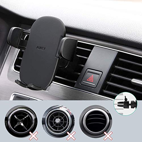 AUKEY Car Phone Mount Air Vent Phone Holder for Car One-Touch Compatible with iPhone 11 Pro/11/Xs/8/7/6, Galaxy S10/S10+/S9/S9+, Note 10 and More