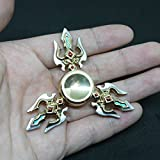 DMaos, LOL Legends Fidget Spinner Tri Spin Finger Games Hand Toy Smooth Metal Aluminum Stainless Steel Light Weight Bearing Crusader Ultra Durable EDC High Speed - Silver Trident with Blue
