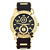 Men's Hip Hop Bling Iced Out Gold Plated Black Silicon Band Watches WR 8485 GBBK