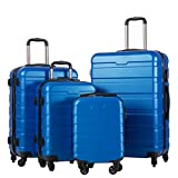 Coolife Luggage 4 Piece Set Suitcase Spinner Hardshell Lightweight (Family Set-blue1)