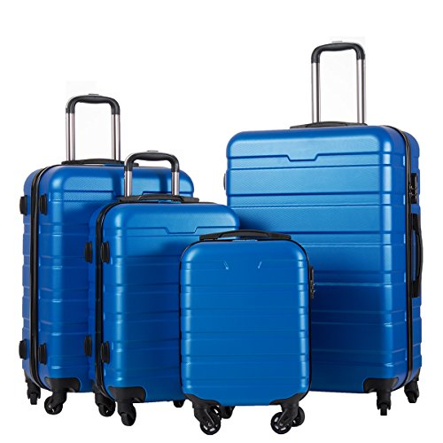 Coolife Luggage 4 Piece Set Suitcase Spinner Hardshell Lightweight (family set-blue1) (Piece Luggage Set 4)