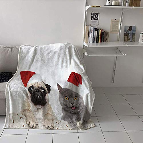 (Khaki home Children's Blanket Throw Print Digital Printing Blanket (60 by 62 Inch,Pug,Christmas Themed Animal Photography with a Cat and Dog Wearing Santa Hats Print,Grey Cream Red)