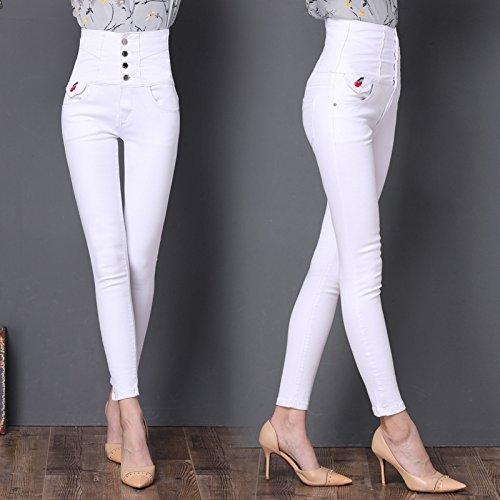 Fuweiencore Ricamo Vita Donna Bianca Farfalla Da Jeans Abbottonatura Con Alta A Bassa Aderenti Skinny rqXarxZwP