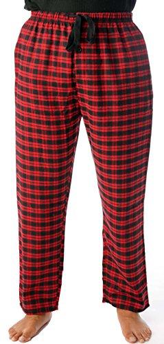 Fit Match Custom (#followme Mens Flannel Pajama Pants 45905-5, Red Black - Plaid, Large)