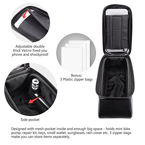 Beusoft Top Tube Front Frame Bike Bag Waterproof Touch Screen Phone Case iPhone X 8 7 6s 6 plus 5s 5/Samsung Galaxy s7 s6 note 7 Cellphone Below 6.3 Inch by Beusoft (Image #3)