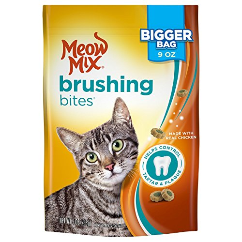 Meow Mix Brushing Bites Cat Dental Treats Made with Real Chicken, 9 oz