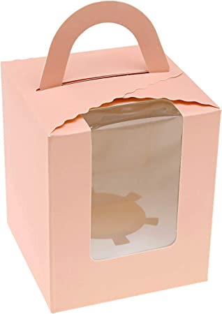 Creative-Idea - Cajas para Pasteles, Magdalenas, Simple, Rosa para Insertar recipientes para panadería, cumpleaños, Boda: Amazon.es: Hogar