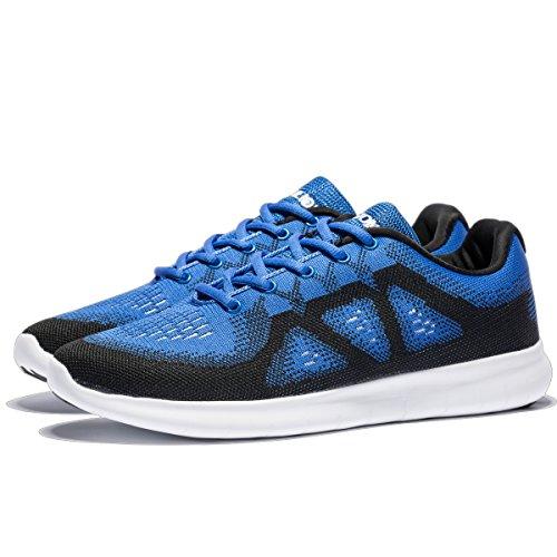 YHOON Herren Atmungsaktive Laufschuhe Ultra Leichte Athletische Freizeitschuhe Große Turnschuhe Blau Schwarz