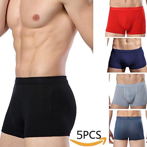 TEERFU 5 Pack Mens Classic Stretch Boxer Brief Underwear ...