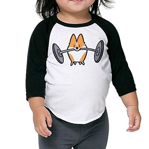 SH-rong Corgis Workout For Kids 3/4 Sleeve Tshirt Size2 Toddler (Generation 4th Ipod Case Corgi)