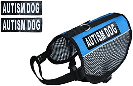 Autism Service Dog mesh Vest Harness Cool Comfort Nylon for Dogs Small Medium Large Purchase Comes2 Reflective Autism Removable Patches. Please Measure Your Dog Before Ordering
