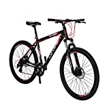 "Image of VTSP XF300 21"" Frame Aluminum Frame Mountain Bike MTB Shimano 24 Speed Dual Disc Brakes Suspension Fork (black-red)"