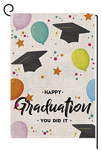 Happy Graduation Cap Small Garden Flag Vertical Double Sided 12.5 x 18 Inch Congrats Grad Colorful Balloon Burlap Yard Outdoor Decor (You Did It) -