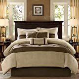 Madison Park Palmer King Size Bed Comforter Set Bed in A Bag - Taupe, Brown, Pieced Stripe – 7 Pieces Bedding Sets – Faux Suede Bedroom Comforters