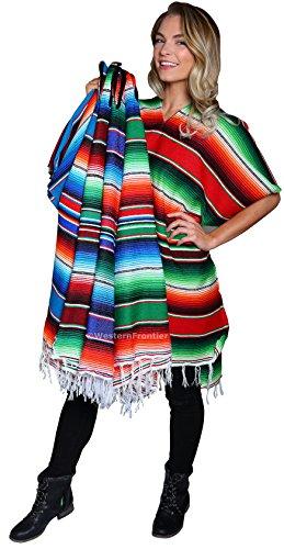 El Paso Designs Serape Poncho Mexican Poncho Cape (Serape Royal Blue) ()