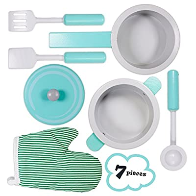 Imagination Generation Simmer & Serve Cookware Playset with a Pot, Pan, Mitt, & Utensils – Compatible with Kids Kitchens & Play Food Toy Sets (7pcs): Toys & Games