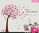 Heartybay®Pink Sakura Flower Cherry Blossom Tree,I Love You,Wall Sticker Decals PVC Removable Wall Decal for Nursery Girls and Boys Children's Bedroom