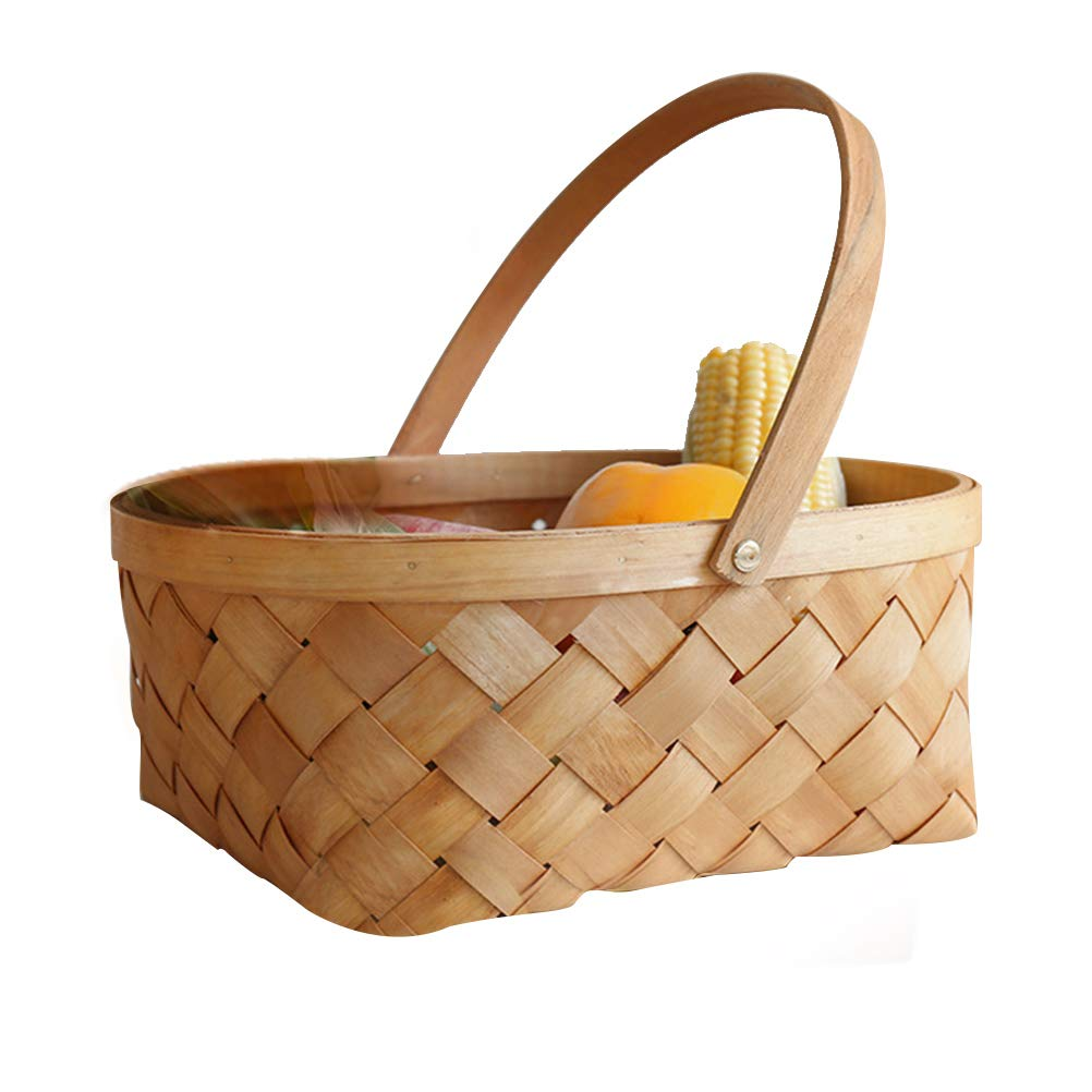 LIOOBO Seagrass Basket, Portable Handmade Rattan Storage Container Storage Basket Houseware Storage Basket Wooden Woven Storage Basket with Handle 12.4 x9.4 x 5.5 inch