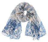 7 Seas Republic Women's Very Detailed Ombre Floral Print Scarf (NAVY)